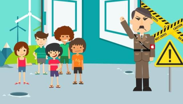 On the teaser for their new smartphone, the Chinese firm Leshi compares Apple with Hitler